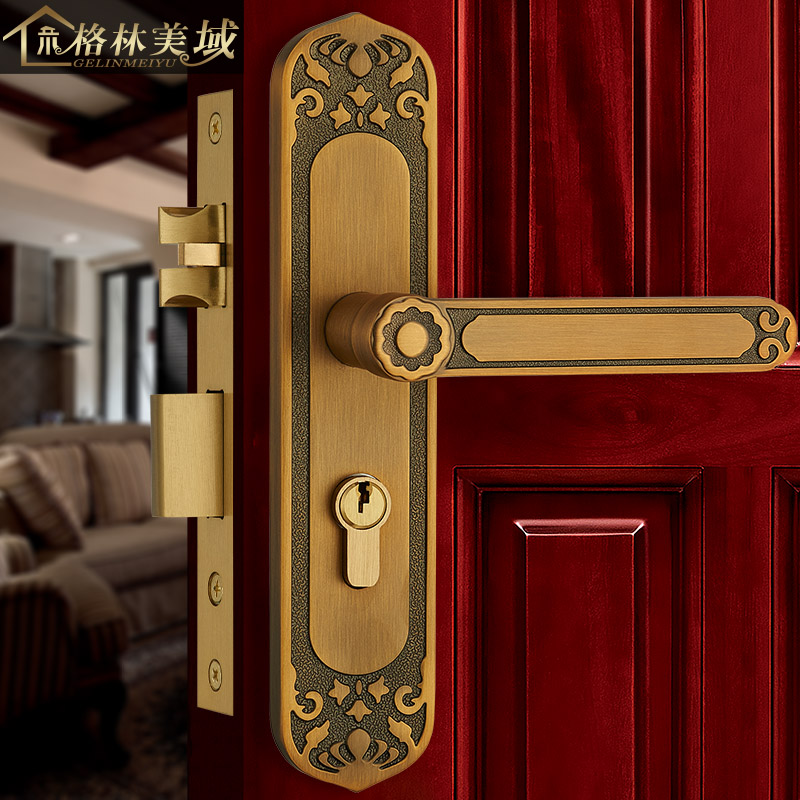 Full copper door lock European - style copper door lock Retro interior door lock top quality 304 stainless steel interior door lock big 50 small 50 series bedroom door anti insert handle lock