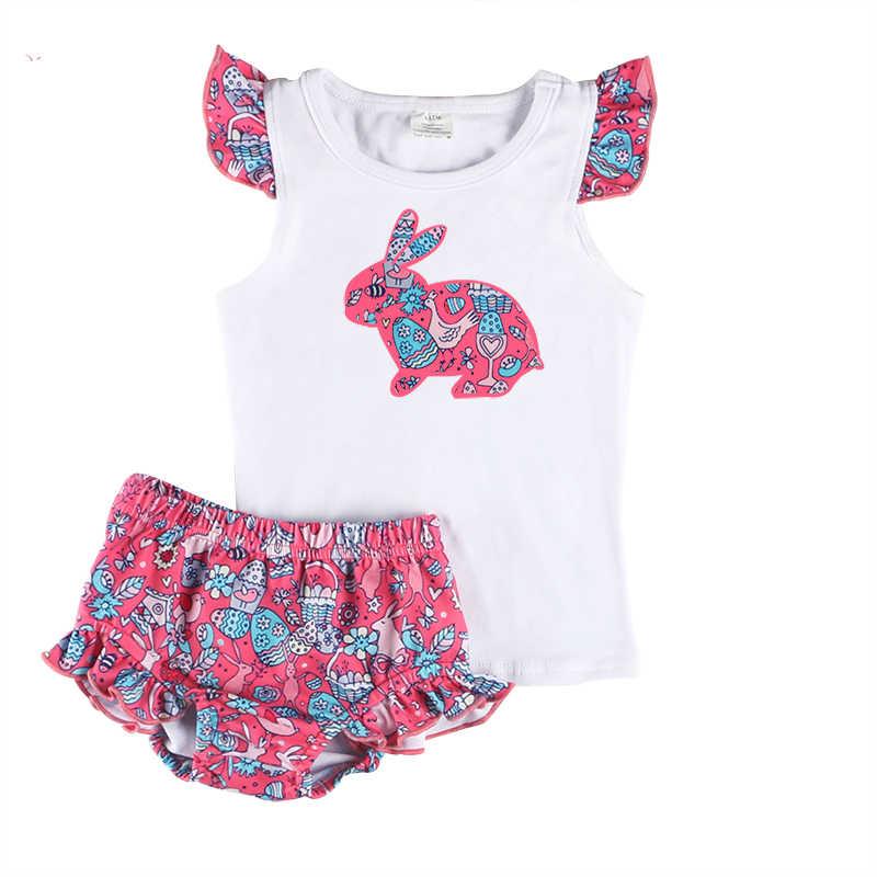 d030f2c2e9c5 Kaiya Angel Toddler Girls Boutique Clothing Set Rabbit Applique Sleeveless  Shirt + Floral Ruffle Bloomer Kids