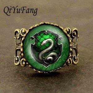 Кольцо в стиле стимпанк «Дары смерти», регулируемое кольцо из стали с зеленой змеей, 1 шт./лот