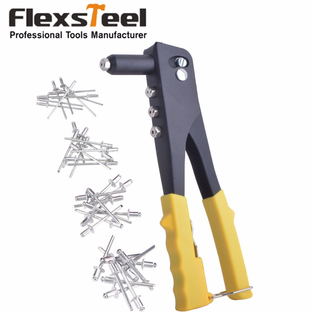 "9.5"" Pop Rivet Hand Tool Riveter Gun Manual Blind Rivet Gun Repair Tools With 40pcs Rivets Including 2.4,3.2,4.0,4.8mm"