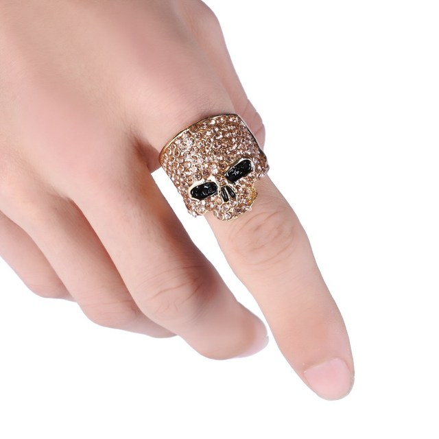 LOVBEAFAS Fashion Rock Punk Gold Silver Black Rhinestone Crystal Skull Ring for Women Men Jewelry Gothic Biker Rings Party Gift