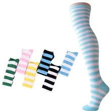 Medias altas hasta el muslo de rayas de Color caramelo para mujer, medias sobre la rodilla Cosplay de Lolita Soft Hold Ups pantimedias