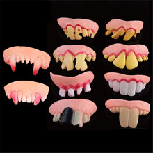 5pcs Halloween Decoration Funny Joke Tooth c Rotten Teeth Party Bags Fancy Dress creative prank Horror Toys Funny gadgetss