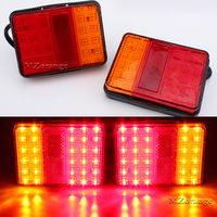 Car Styling For Trailer Truck Boat DC 12V Waterproof 30 LED Taillights Red Amber Rear Tail