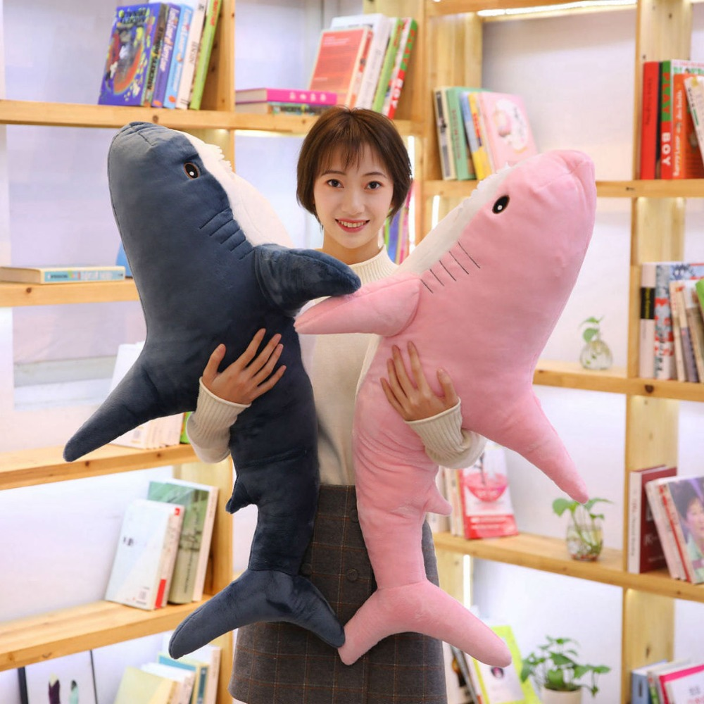 100cm Big Size Funny Soft Bite Pink Plush Shark Toy Pillow Appease Cushion Gift For Children