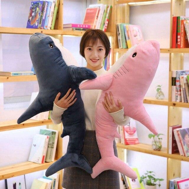 100cm Big Size Funny Soft Bite różowy pluszowy zabawkowy rekin poduszka Appease poduszka na prezent dla dzieci