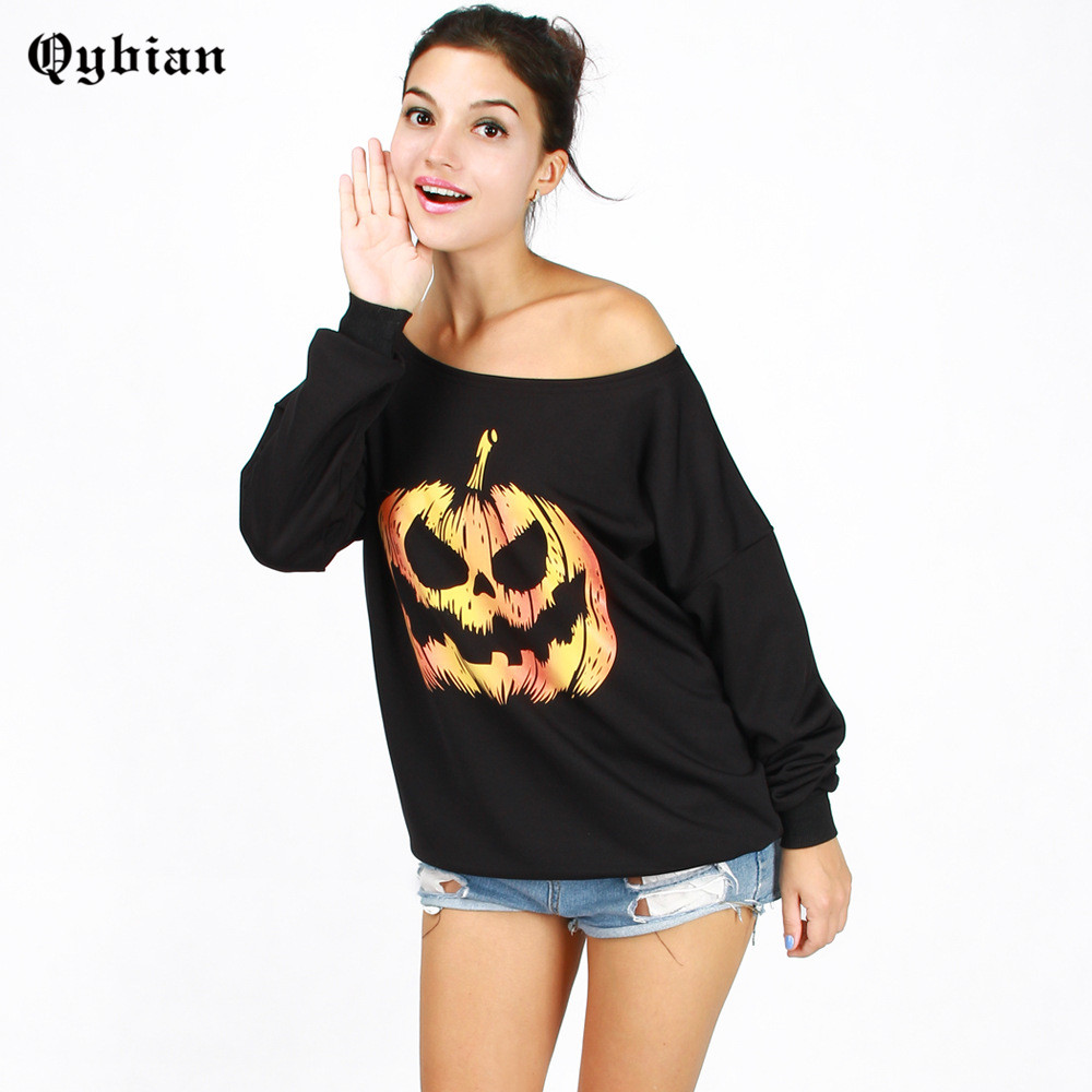 halloween female autumn and winter loose casual long sleeve funny pumpkin printing t shirt off the - Halloween Shirts For Ladies