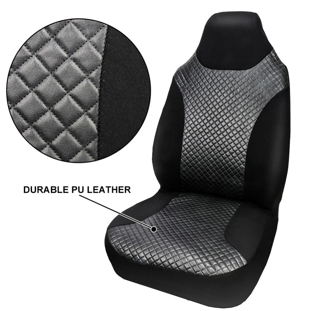 Tirol Auto Front Seat Cover PU Leather Single High Back Bucket Auto Seat Cover Universal Black Car Seat Protector Car Interior Accessories
