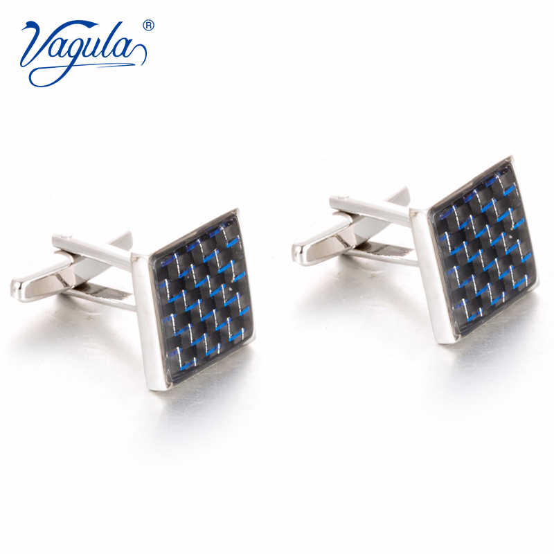 VAGULA Gemelos Classic Silver-color Copper Blue Fibre Men Cufflink Luxury gift Party Wedding Suit Shirt Button Cufflink  788