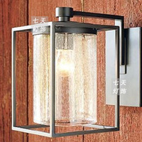 vintage loft Wrought iron glass box outdoor waterproof wall lamp