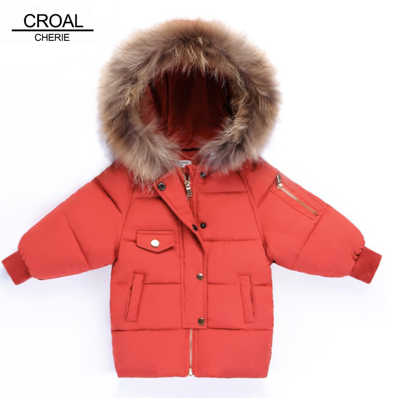 CROAL CHERIE Children Winter Jacket Girl Boys Winter Coat Kids Warm Thick Raccoon Fur Collar Hooded Long Cotton Coats 80-120cm цена