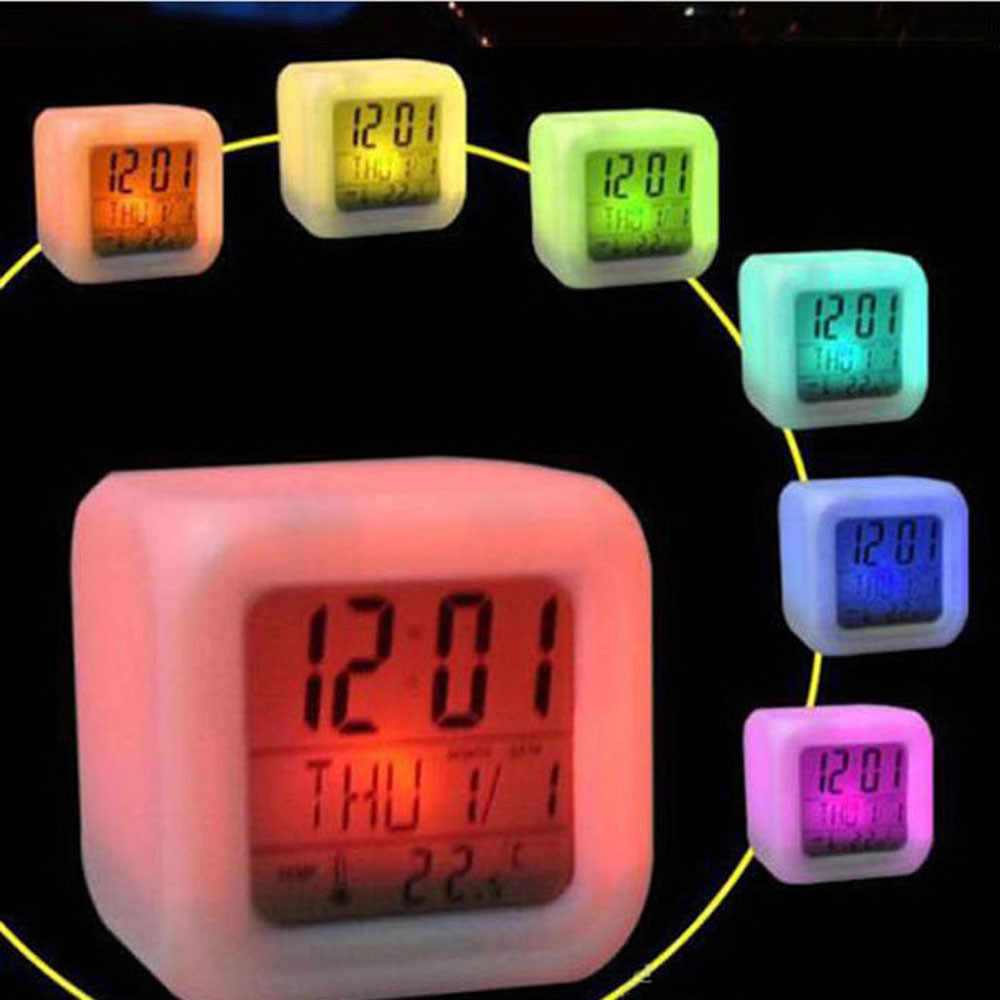 LED Desk Clock Luminova color changing Digital Alarm Thermometer Night Glowing Cube F15