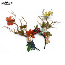 Gothic Flowers Leaves Headband Blomsträd Branch Headpieces Cosplay Headdress Party Kostym Hårtillbehör Handgjorda