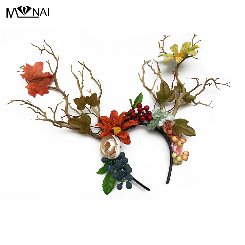 Gothic Flowers Leaves Headband Floral Tree Branch Headpieces Cosplay Headdress Party Costume Hair Accessories Handmade