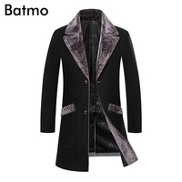 BATMO 2018 new winter high quality men's single breasted wool coats Windbreaker,Splicing collar woolen Casual trench coat men