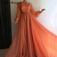 Коралловый арабский Moroccan вечерние платья элегантные для женщин знаменитости Одежда с длинным рукавом шифон Дубай Caftans вечерние 2019