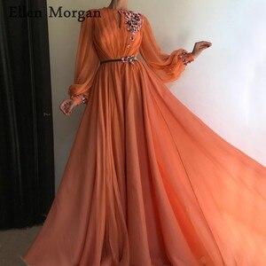 Image 1 - אלמוגים ערבית מרוקאי ערב שמלות מפלגה אלגנטית לנשים סלבריטאים ארוך שרוולים שיפון דובאי פורמליות שמלות 2019