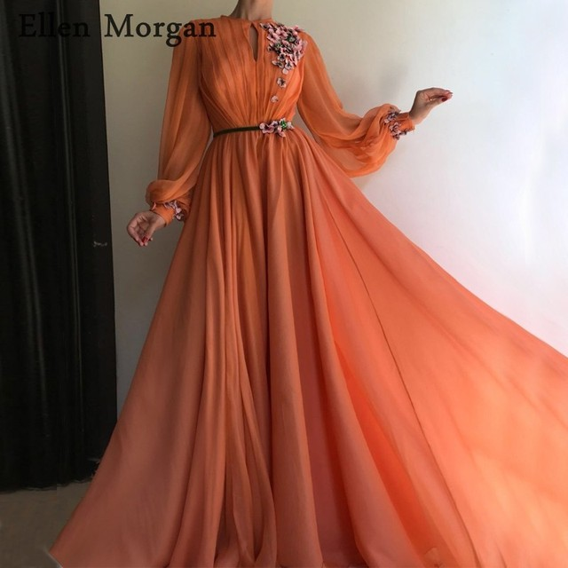 Coral Arabic Moroccan Evening Dresses Party Elegant for Women Celebrity Long Sleeves Chiffon Dubai Caftans Formal Gowns 2020
