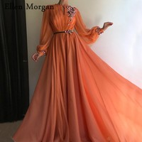 Coral Arabic Moroccan Evening Dresses Party Elegant for Women Celebrity Long Sleeves Chiffon Dubai Caftans Formal Gowns 2019