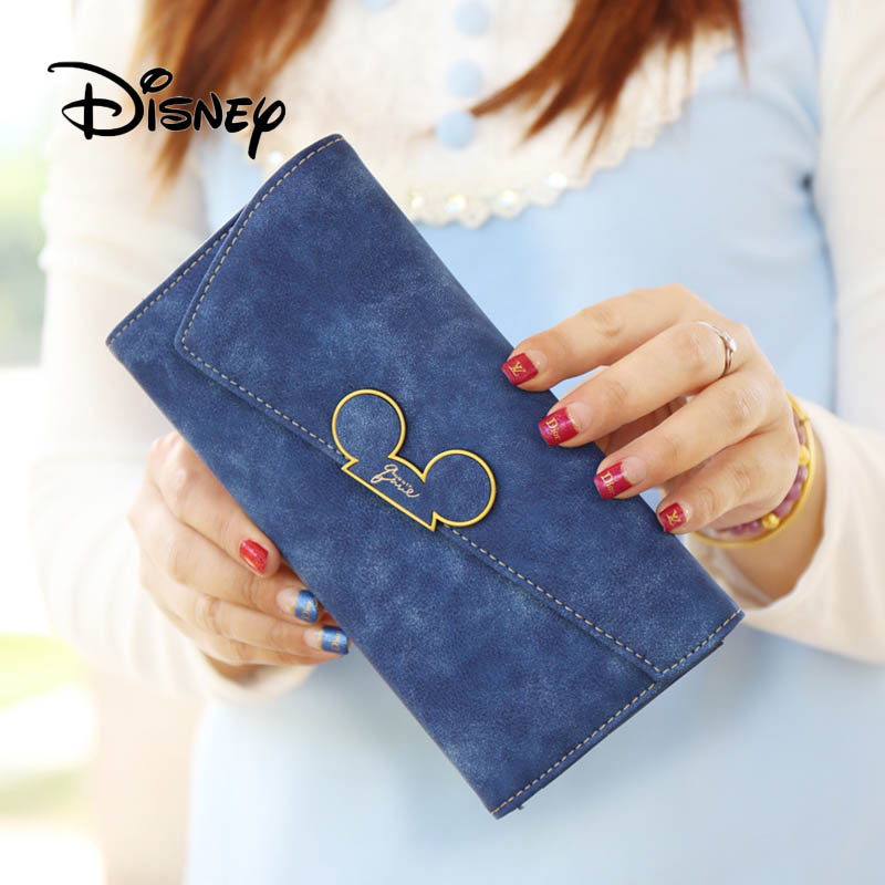 Disney Cartoon Long Purse Women Mickey Mouse Plush Toy Wallet Girl Coin Fold Bag Cute Lady Scrub PU Purse Mobile Phone Bags