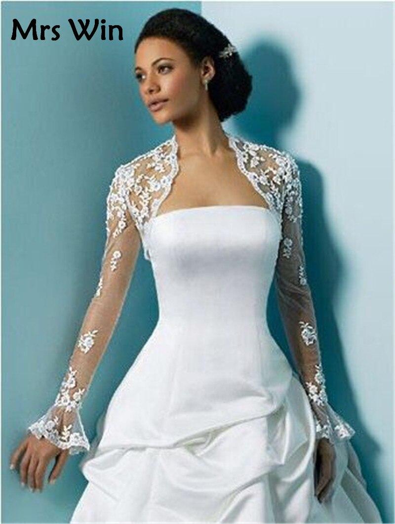 White Long Sleeve Lace Wedding Bolero Women Wedding Jackets Plus ...
