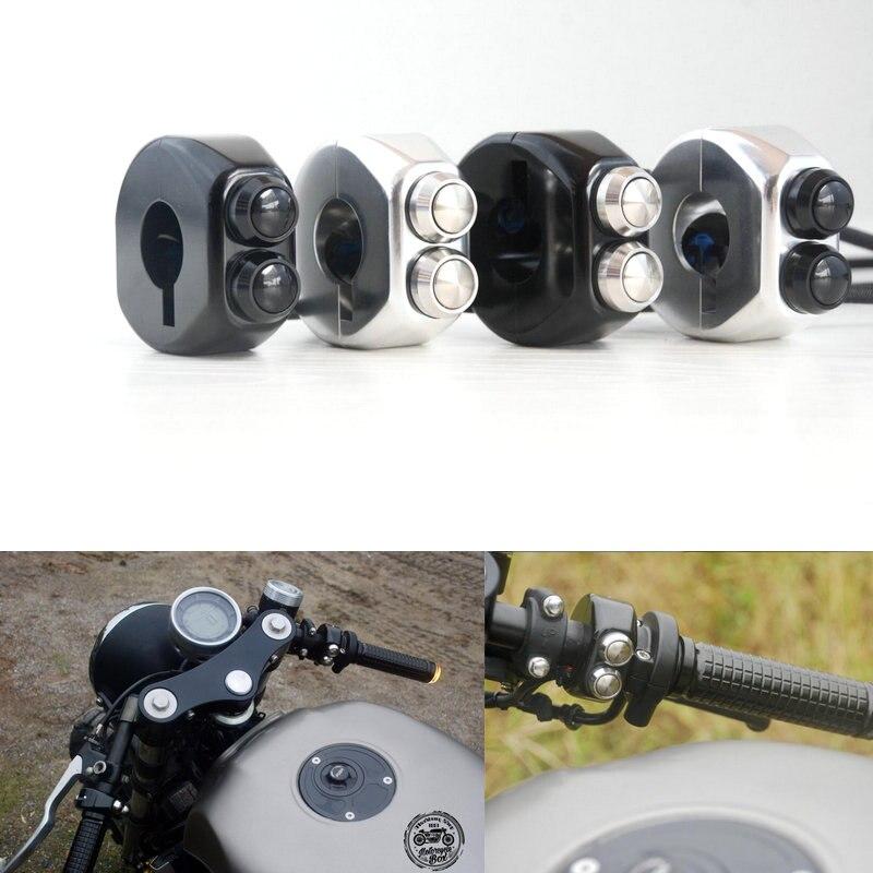 CNC interrupteur de verrouillage momentané interrupteur en alliage d'aluminium moto café course poignée poignées réinitialiser les boutons pour Honda Yamaha Suzuki