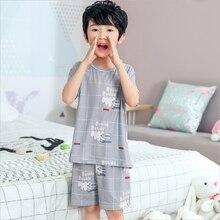 Купить с кэшбэком 2019 children pajamas set kids baby girl cartoon casual nightgown costume short sleeve boys sleepwear summer thin home clothes