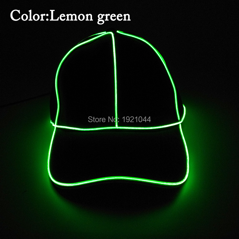 2017 Newest EL Wire Glowing Single Color Baseball Cap 10Color Select with DC-1.5V Inverter Party Hats for Halloween Decoration