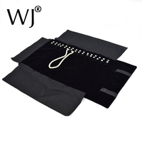 Black Velvet Jewelry Display Rolls Travel Portable Organizer Multi Functional Carrying Bag Folding For Necklace Storage