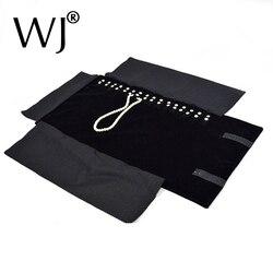 أسود المخملية المنظم مجوهرات عرض رولز السفر تخزين حقيبة محمولة للطي ل قلادة قلادة سلسلة حامل حامل