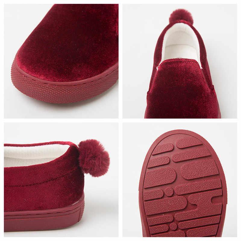 Mini Balabala Kids Meisjes Fluwelen Slip-On Sneakers met Pom Pom Kinderen Peuter Meisje Slip-On Schoenen Schoeisel school Schoen Zachte Tong
