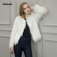 Aikooki Women Faux Fox Fur Coats Winter High End Coat Thicken Warm Fake Fur Women Elegant
