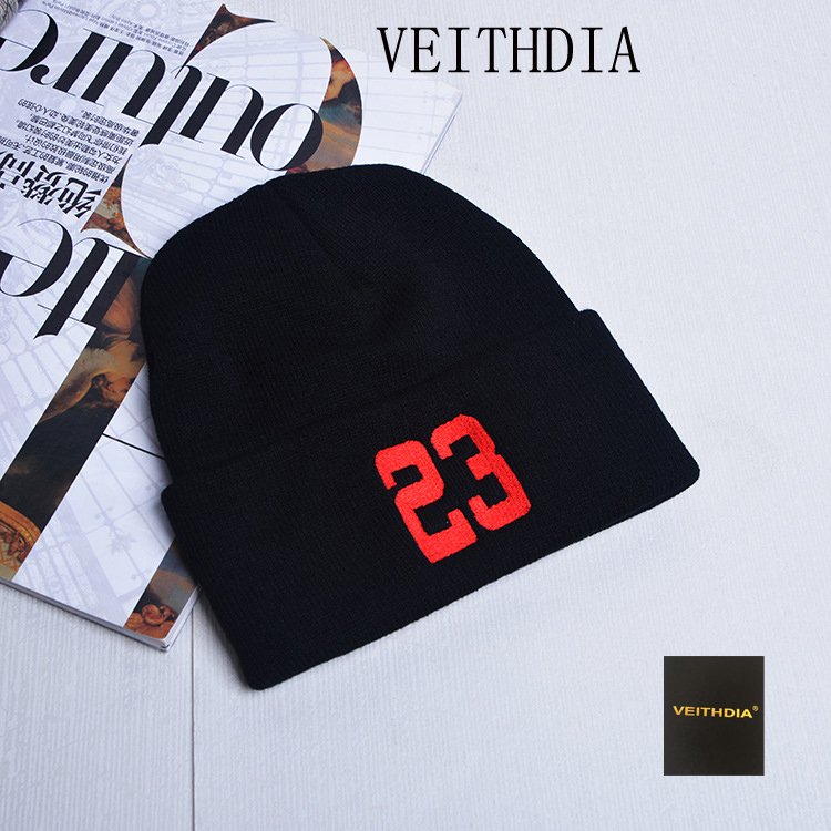 VEITHDIA New patch standard winter hat hot 23 letter cap men and women fashion warm hat knitted wool hat 445 the new 2016 han edition affixed cloth wave cap hat hat tip to keep warm letter knitting hat qiu dong men and women