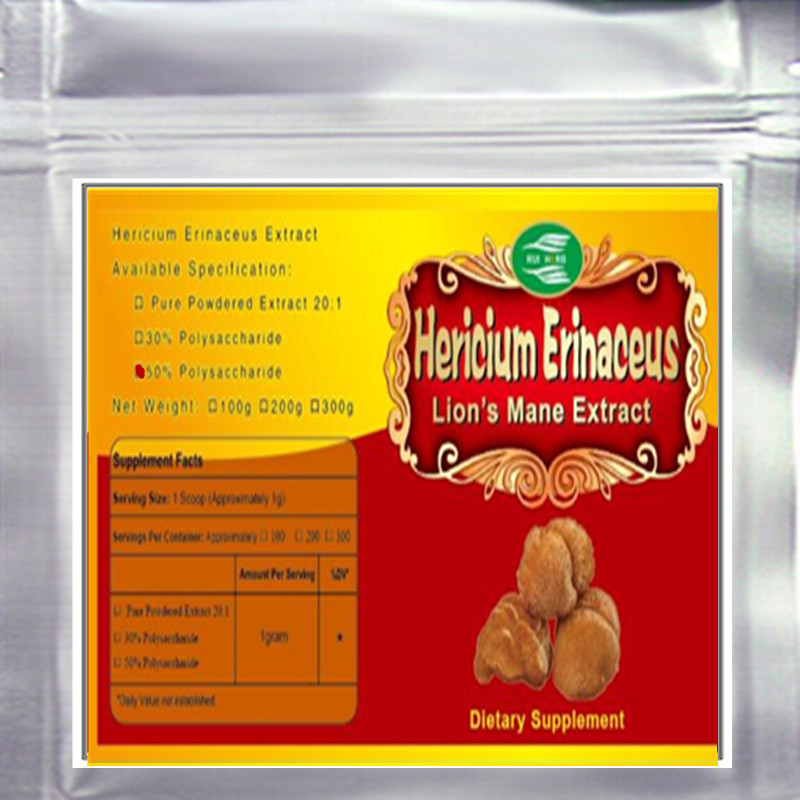 200gram Lion's Mane Mushroom Hericium Erinaceus Extract 50% Polysaccharide Powder free shipping free shipping pure nature raspberry extract raspberry ketones powder 500mg x 100caps