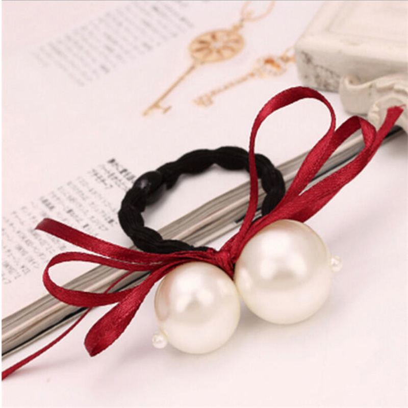 Купить с кэшбэком Fashion 1pc Women Girl Cute Bow Hair Rope Pearl Elegant Elastic Hair Band Accessories