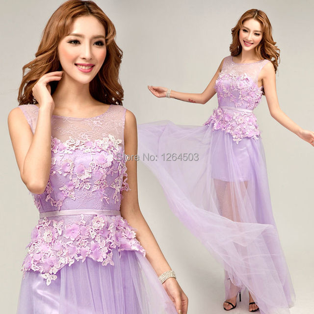 Hot Sweet Violet Boat Neck 2 In 1 High Low Chiffon Long Bridesmaid Dresses