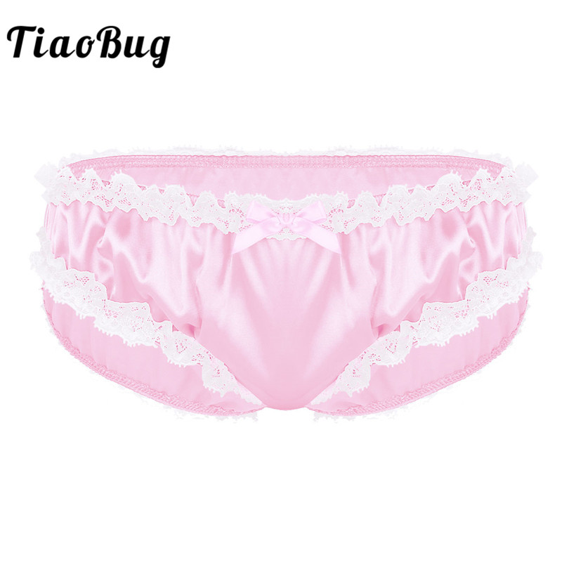 TiaoBug Men Lingerie Shiny Soft Satin Ruffle Lace Sissy Panties Low Rise Bikini Tanga Hombre Thong Briefs Sexy Gay Men Underwear