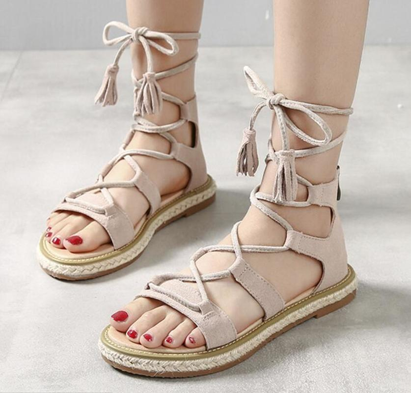 ladies summer sandals zip back women flats lace up cross-tied tassel open toe woman casual shoes chaussure Zapatos Mujer F180119 2016 hot low top wrinkled skin cockles trainers kanye west chaussure flats lace up mens shoes zapatos mujer casual shoes