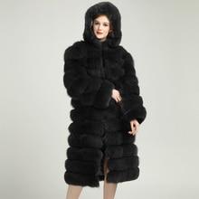 Dark Gray Fur Coats Real Fox Fur 2017 New Pockets Vest Overcoat Customized Plus Size Natural Fur Jacket Hooded Coats for Winter