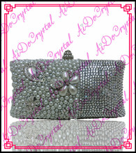 Aidocrystal Shining silvery gems ladies clutch bag and matching slip-on high heels for party
