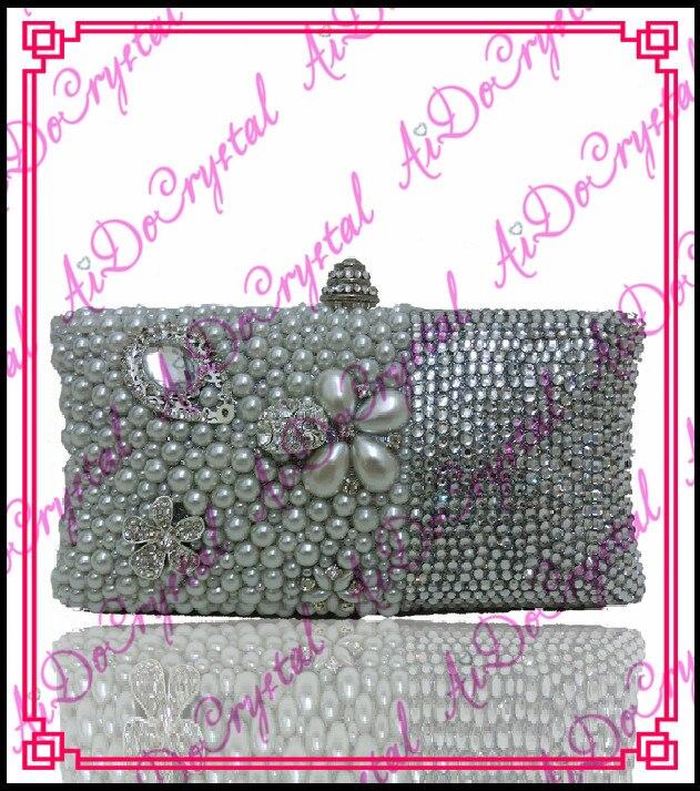 Aidocrystal Shining silvery gems ladies clutch font b bag b font and matching slip on high