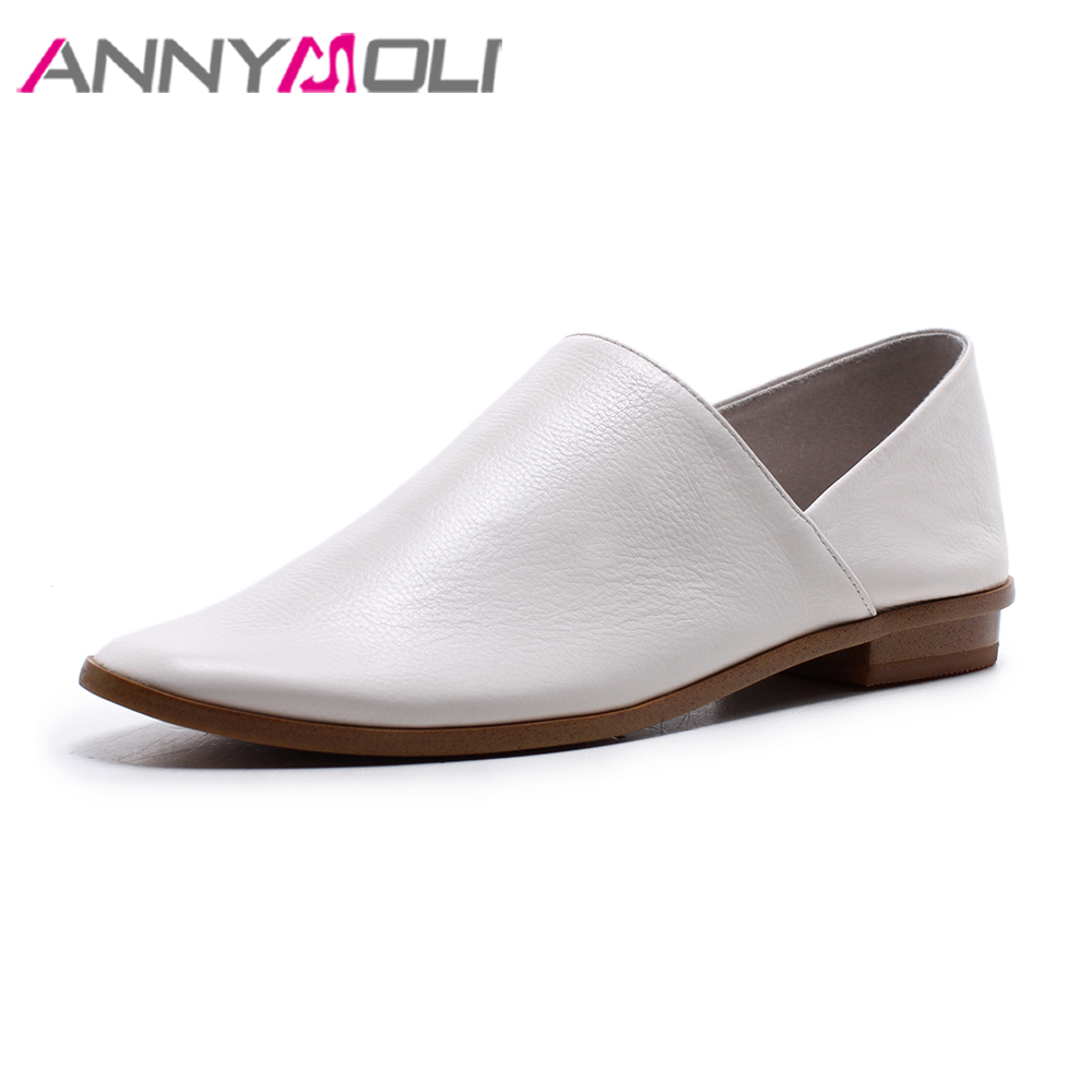 ANNYMOLI Genuine Leather Shoes Women Moccasins Spring Loafers Flats Slip On Shoes 2018 White Casual Mules Shoes Female Black cresfimix zapatos women cute flat shoes lady spring and summer pu leather flats female casual soft comfortable slip on shoes