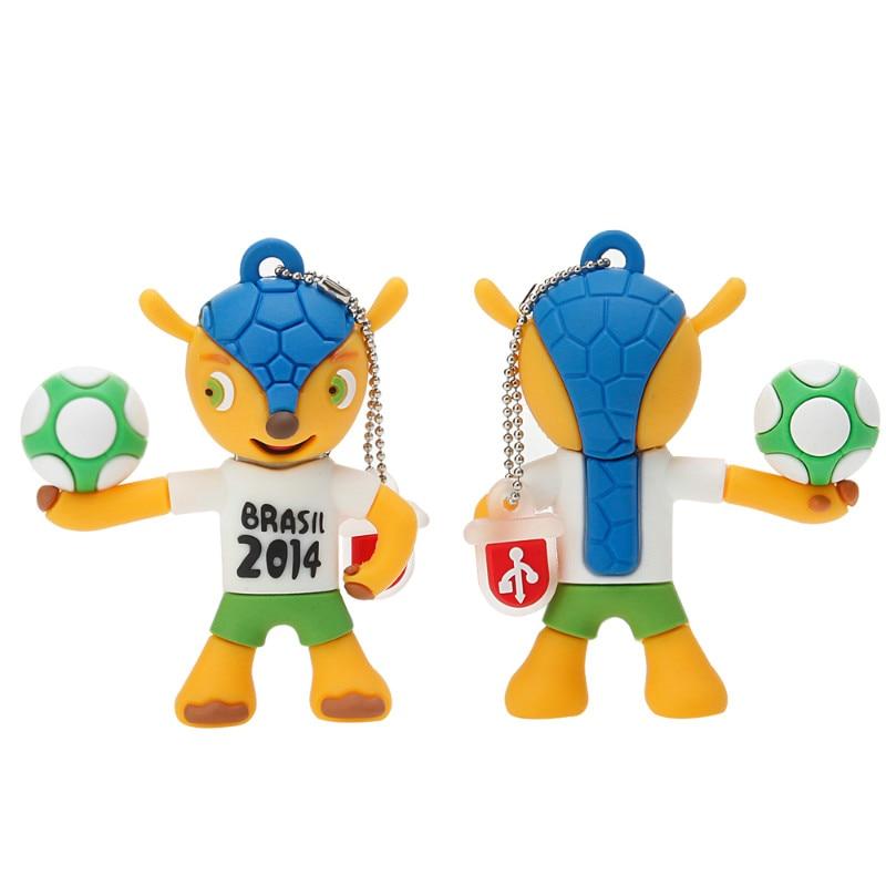 Memory Stick Brazil World Cup Mascot Cartoon USB Flash Drive 4GB 8GB 16GB 32GB 64GB Pen Drive 128GB Usb 2.0 Pendrive Thumbdrives-in USB Flash Drives from Computer & Office