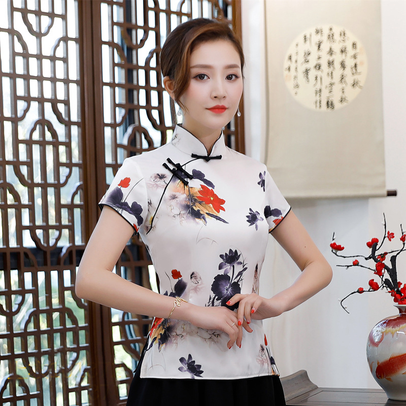 New Summer Womens Shirt Traditional Chinese Style Tops Lady Rayon Blouse Handmade Button Mujer Camisa Flowers S M L XL XXL XXXL
