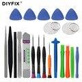 DIYFIX 21 en 1 Kit de herramientas de reparación de teléfono móvil Spudger Pry herramienta de apertura juego de destornilladores para iPhone 7 6X8 s 6 Plus juego de herramientas de mano