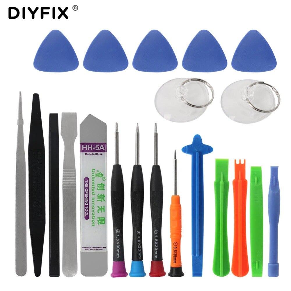 DIYFIX 21 en 1 Kit de herramientas de reparación de teléfonos móviles Spudger herramienta de apertura juego de destornillador para iPhone 7X8 juego de herramientas de mano 6S 6 Plus
