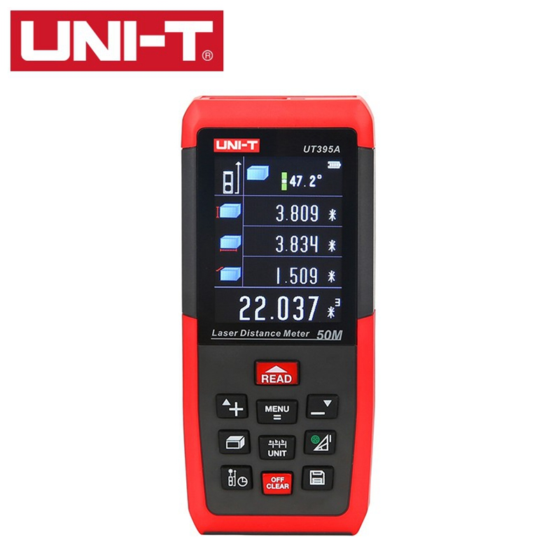 UNI T UT395A 50m Laser Distance Meter Rangefinder Electronic Leveler Tripod interface USB Data Export PC Software 2.4inch TFTLCD цена