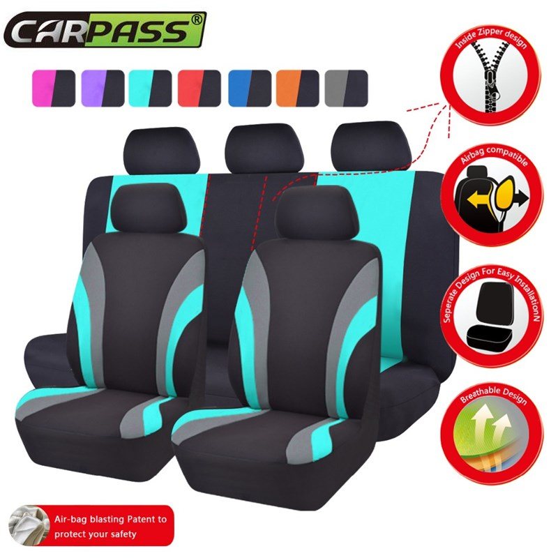 Car pass New Colorful Sports Series Car Seat Covers Universal Car Styling Full Set Interior Car Airbag Compatible Seat Support