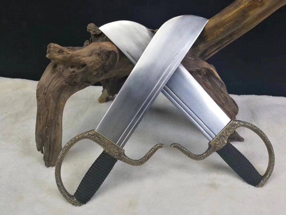Épées papillon Chun aile chaude Bart Cham Dao wingchun double épées poignée en cuivre avec sculpture incluse collection de sacs en cuir