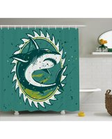 Green Shower Curtain Shark Hunter Marine Art Print For BathroomFabric Washable Waterproof With Rings